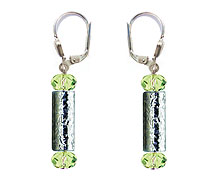 SWAROVSKI (R) crystals in combination with: BELLASIX (R) 1811-O earrings green hand-engraved manufactured handwork 925 silver clasp manufactured handwork