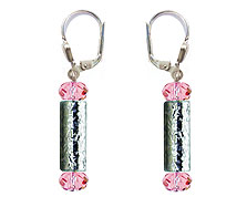 SWAROVSKI (R) crystals in combination with: BELLASIX (R) 1812-O earrings rose hand-engraved manufactured handwork 925 silver clasp manufactured handwork