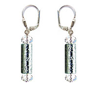 SWAROVSKI (R) crystals in combination with: BELLASIX (R) 1813-O earrings hand-engraved manufactured handwork 925 silver clasp manufactured handwork