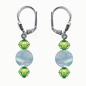 SWAROVSKI (R) crystals in combination with: BELLASIX (R) 1844-O earrings 925 silver clasp aquamarine