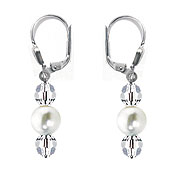 SWAROVSKI (R) crystals in combination with: BELLASIX (R) 1849-O earrings 925 silver clasp mussel-stone-pearl
