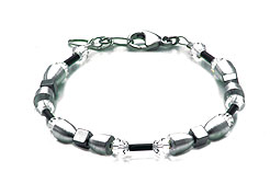 SWAROVSKI (R) crystals in combination with: BELLASIX (R) 1854-A bracelet hematine 925 silver clasp