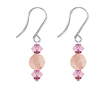 SWAROVSKI (R) crystals in combination with: BELLASIX (R) 4501-SSO earrings stainless steel (316L) earring wire rose quartz