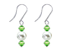 SWAROVSKI (R) crystals in combination with: BELLASIX (R) 4505-SSO earrings stainless steel (316L) earring wire mussel-stone-pearl