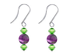 SWAROVSKI (R) crystals in combination with: BELLASIX (R) 4507-SSO earrings stainless steel (316L) earring wire amethyst