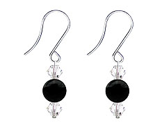 SWAROVSKI (R) crystals in combination with: BELLASIX (R) 4509-SSO earrings stainless steel (316L) earring wire onyx