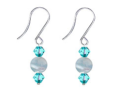 SWAROVSKI (R) crystals in combination with: BELLASIX (R) 4513-SSO earrings stainless steel (316L) earring wire aquamarine