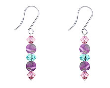 SWAROVSKI (R) crystals in combination with: BELLASIX (R) 4519-SSO earrings stainless steel (316L) earring wire amethyst