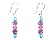 SWAROVSKI (R) crystals in combination with: BELLASIX (R) 4520-SSO earrings amethyst (purple-coloured) blue rose stainless steel (316L) earring wire