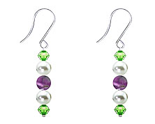 SWAROVSKI (R) crystals in combination with: BELLASIX (R) 4521-SSO earrings stainless steel (316L) earring wire amethyst mussel-stone-pearl