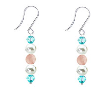 SWAROVSKI (R) crystals in combination with: BELLASIX (R) 4522-SSO earrings stainless steel (316L) earring wire rose quartz mussel-stone-pearl