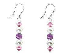 SWAROVSKI (R) crystals in combination with: BELLASIX (R) 4523-SSO earrings stainless steel (316L) earring wire amethyst mussel-stone-pearl