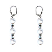 BELLASIX ® 90003-O earrings, 925 silver / lobster clasp, fresh water cultivated pearl, hematine