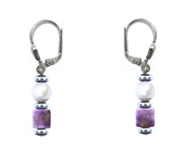 BELLASIX ® 90007-O earrings, 925 silver / lobster clasp, amethyst, fresh water cultivated pearl, hematine