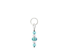 BELLASIX ® zipper pendant AR1 or handbag charm w. SWAROVSKI ® crystals in blue and crystal, total length approx. 4.5 cm