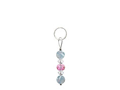 BELLASIX ® zipper pendant AR10 or handbag charm w. SWAROVSKI ® crystals in rose and crystal with aquamarine, total length approx. 4.5 cm