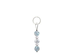 BELLASIX ® zipper pendant AR11 or handbag charm w. SWAROVSKI ® crystals in crystal and aquamarine, total length approx. 4.5 cm