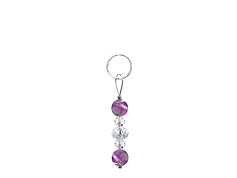 BELLASIX ® zipper pendant AR13 or handbag charm w. SWAROVSKI ® crystals in crystal with amethyst, total length approx. 4.5 cm