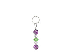 BELLASIX ® zipper pendant AR15 or handbag charm w. SWAROVSKI ® crystals in green and crystal with amethyst, total length approx. 4.5 cm