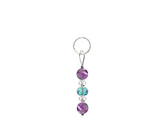 BELLASIX ® zipper pendant AR16 or handbag charm w. SWAROVSKI ® crystals in blue and crystal with amethyst, total length approx. 4.5 cm