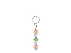 BELLASIX ® zipper pendant AR18 or handbag charm w. SWAROVSKI ® crystals in green and crystal with rose quartz, total length approx. 4.5 cm