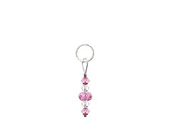 BELLASIX ® zipper pendant AR2 or handbag charm w. SWAROVSKI ® crystals in rose and crystal, total length approx. 4.5 cm