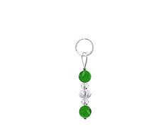 BELLASIX ® zipper pendant AR21 or handbag charm w. SWAROVSKI ® crystals in crystal with jade, total length approx. 4.5 cm