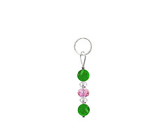 BELLASIX ® zipper pendant AR22 or handbag charm w. SWAROVSKI ® crystals in rose and crystal with jade, total length approx. 4.5 cm