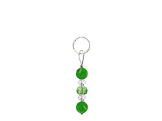 BELLASIX ® zipper pendant AR23 or handbag charm w. SWAROVSKI ® crystals in green and crystal with jade, total length approx. 4.5 cm