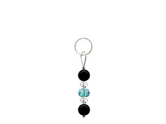BELLASIX ® zipper pendant AR25 or handbag charm w. SWAROVSKI ® crystals in blue and crystal with onyx, total length approx. 4.5 cm