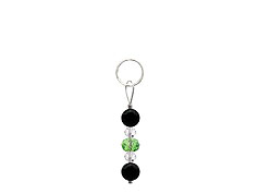 BELLASIX ® zipper pendant AR26 or handbag charm w. SWAROVSKI ® crystals in green and crystal with onyx, total length approx. 4.5 cm