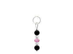 BELLASIX ® zipper pendant AR27 or handbag charm w. SWAROVSKI ® crystals in rose and crystal with onyx, total length approx. 4.5 cm