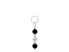 BELLASIX ® zipper pendant AR28 or handbag charm w. SWAROVSKI ® crystals in crystal with onyx, total length approx. 4.5 cm