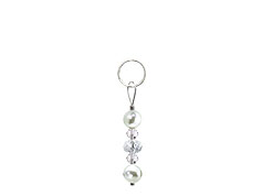 BELLASIX ® zipper pendant AR29 or handbag charm w. SWAROVSKI ® crystals in crystal with shell pearls, total length approx. 4.5 cm