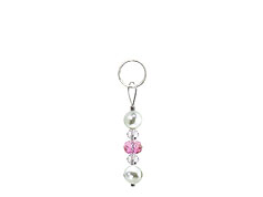 BELLASIX ® zipper pendant AR30 or handbag charm w. SWAROVSKI ® crystals in rose and crystal with shell pearls, total length approx. 4.5 cm