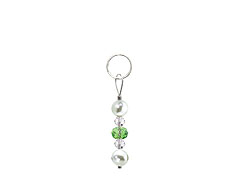 BELLASIX ® zipper pendant AR31 or handbag charm w. SWAROVSKI ® crystals in green and crystal with shell pearls, total length approx. 4.5 cm