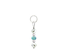 BELLASIX ® zipper pendant AR32 or handbag charm w. SWAROVSKI ® crystals in blue and crystal with shell pearls, total length approx. 4.5 cm