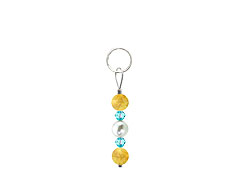 BELLASIX ® zipper pendant AR33 or handbag charm w. SWAROVSKI ® crystals in blue with shell pearls and citrine, total length approx. 4.5 cm