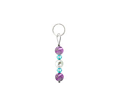 BELLASIX ® zipper pendant AR34 or handbag charm w. SWAROVSKI ® crystals in blue with shell pearls and amethyst, total length approx. 4.5 cm