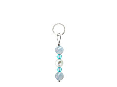 BELLASIX ® zipper pendant AR35 or handbag charm w. SWAROVSKI ® crystals in blue with shell pearls and aquamarine, total length approx. 4.5 cm