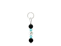 BELLASIX ® zipper pendant AR38 or handbag charm w. SWAROVSKI ® crystals in blue with shell pearls and onyx, total length approx. 4.5 cm