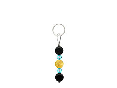 BELLASIX ® zipper pendant AR39 or handbag charm w. SWAROVSKI ® crystals in blue with citrine and onyx, total length approx. 4.5 cm