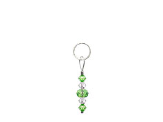 BELLASIX ® zipper pendant AR4 or handbag charm w. SWAROVSKI ® crystals in green and crystal, total length approx. 4.5 cm