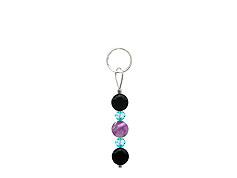 BELLASIX ® zipper pendant AR40 or handbag charm w. SWAROVSKI ® crystals in blue with amethyst and onyx, total length approx. 4.5 cm