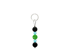 BELLASIX ® zipper pendant AR42 or handbag charm w. SWAROVSKI ® crystals in blue with jade and onyx, total length approx. 4.5 cm