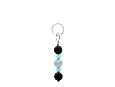 BELLASIX ® zipper pendant AR43 or handbag charm w. SWAROVSKI ® crystals in blue with aquamarine and onyx, total length approx. 4.5 cm