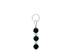 BELLASIX ® zipper pendant AR44 or handbag charm w. SWAROVSKI ® crystals in blue with onyx, total length approx. 4.5 cm