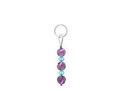 BELLASIX ® zipper pendant AR47 or handbag charm w. SWAROVSKI ® crystals in blue with amethyst, total length approx. 4.5 cm