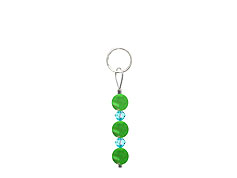 BELLASIX ® zipper pendant AR48 or handbag charm w. SWAROVSKI ® crystals in blue with jade, total length approx. 4.5 cm