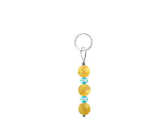 BELLASIX ® zipper pendant AR49 or handbag charm w. SWAROVSKI ® crystals in blue with citrine, total length approx. 4.5 cm